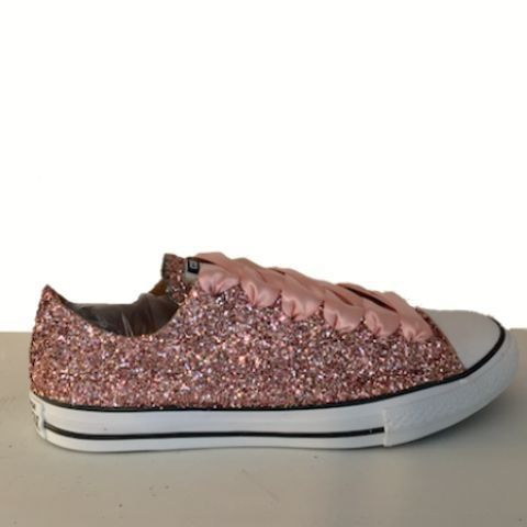 Sparkly Rose Gold Glitter Converse All Stars Sneakers Shoes Bridal Wedding  Bride Comfortable -GLITTER SHOE 8685ef29c