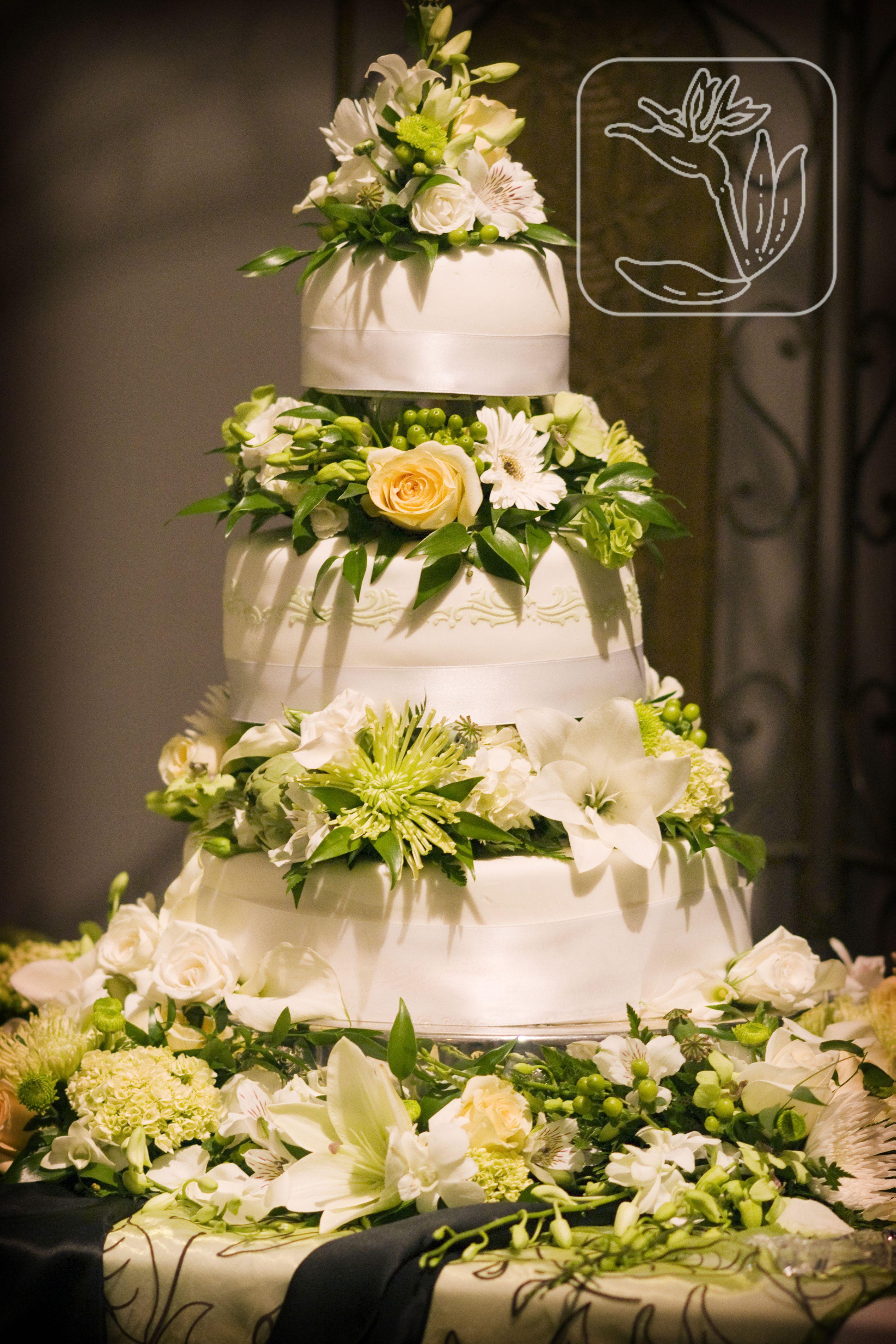 Wedding Cake Flowers (White,cream, and green flowers) | Utah Wedding ...