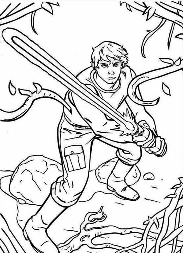 The Great Luke Skywalker Standby With Light Saber In Star Wars Coloring Page Download Print Onlin Cartoon Coloring Pages Coloring Books Cool Coloring Pages