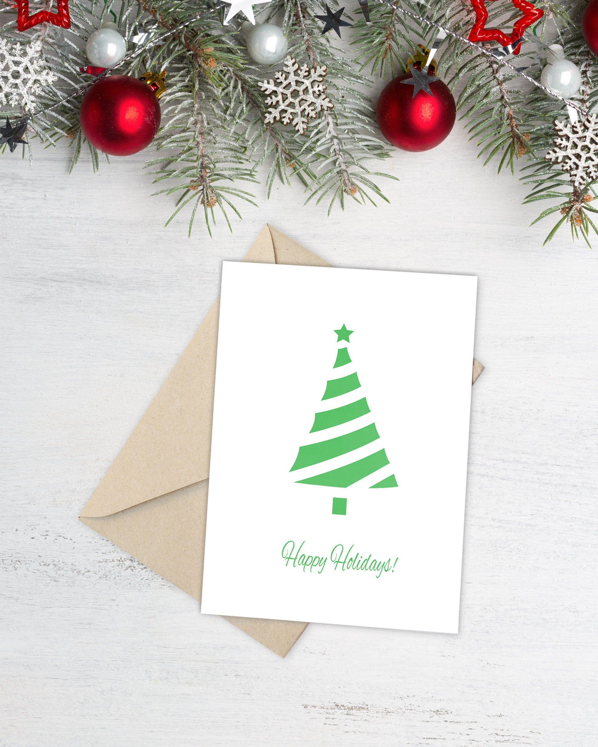 Christmas Tree Card Happy Christmas Card Printable Greeting Etsy Digital Christmas Cards Happy Christmas Card Minimalist Christmas Card