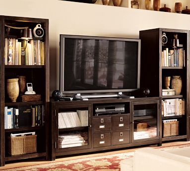 Tv Stand Surrounded By 2 Book Shelves Makes It Look Like One Big