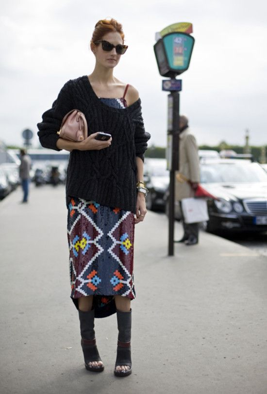 Taylor Tomasi in ASHISH & perfect way to wear a summer dress in Autumn with a slouchy jumper