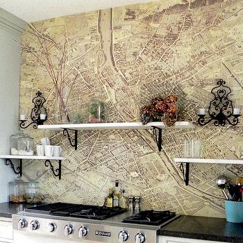 Vintage Map Backsplash Eclectic Kitchen Vignette Design Backsplash