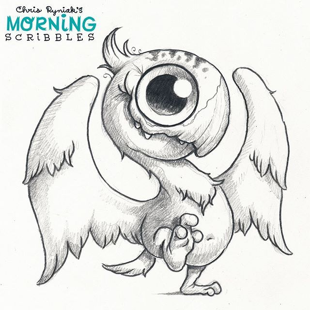 Scribble Monster Drawing : Dino bird morningscribbles cute little monsters