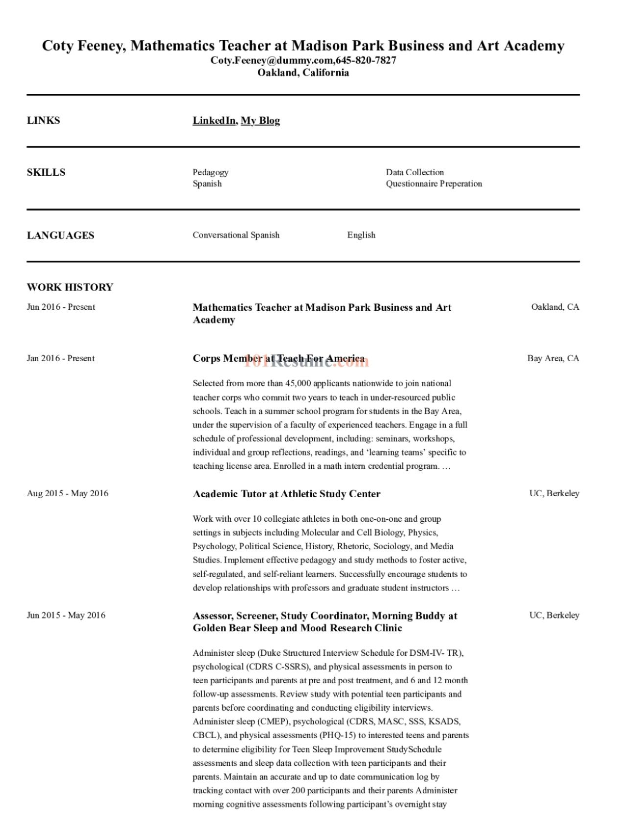 High School Mathematics Teacher resume sample in 2020