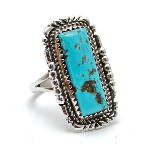 Navajo Crafted Sterling silver ring Light Blue/Green Kingman turquoise stone…