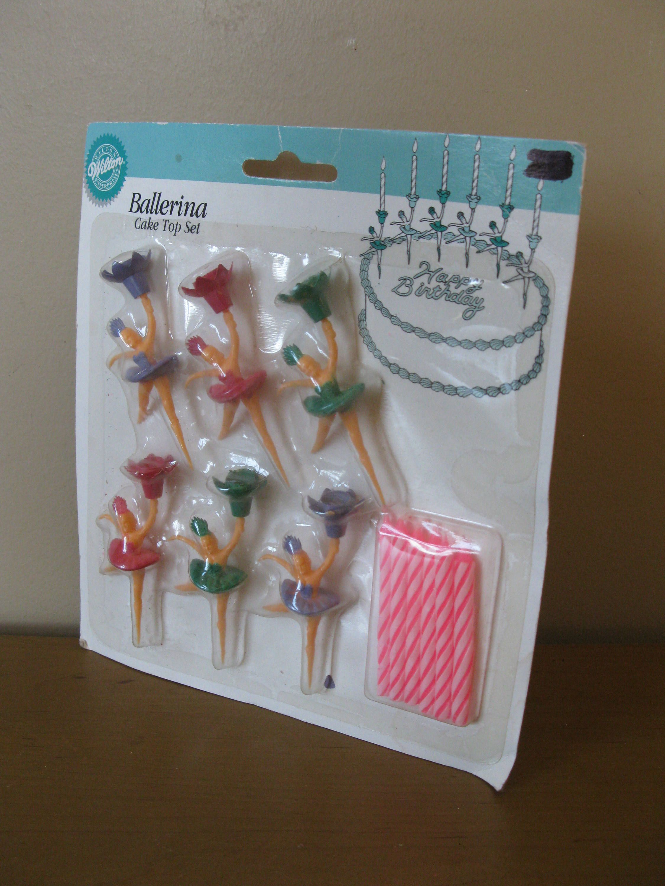 Vintage Wilton Ballerina Cake Topper Set Of 6 UNOPENED Toppers With Candles Girl Birthday Decorations 1991 New Old Stock By Oakiesclaptrap On