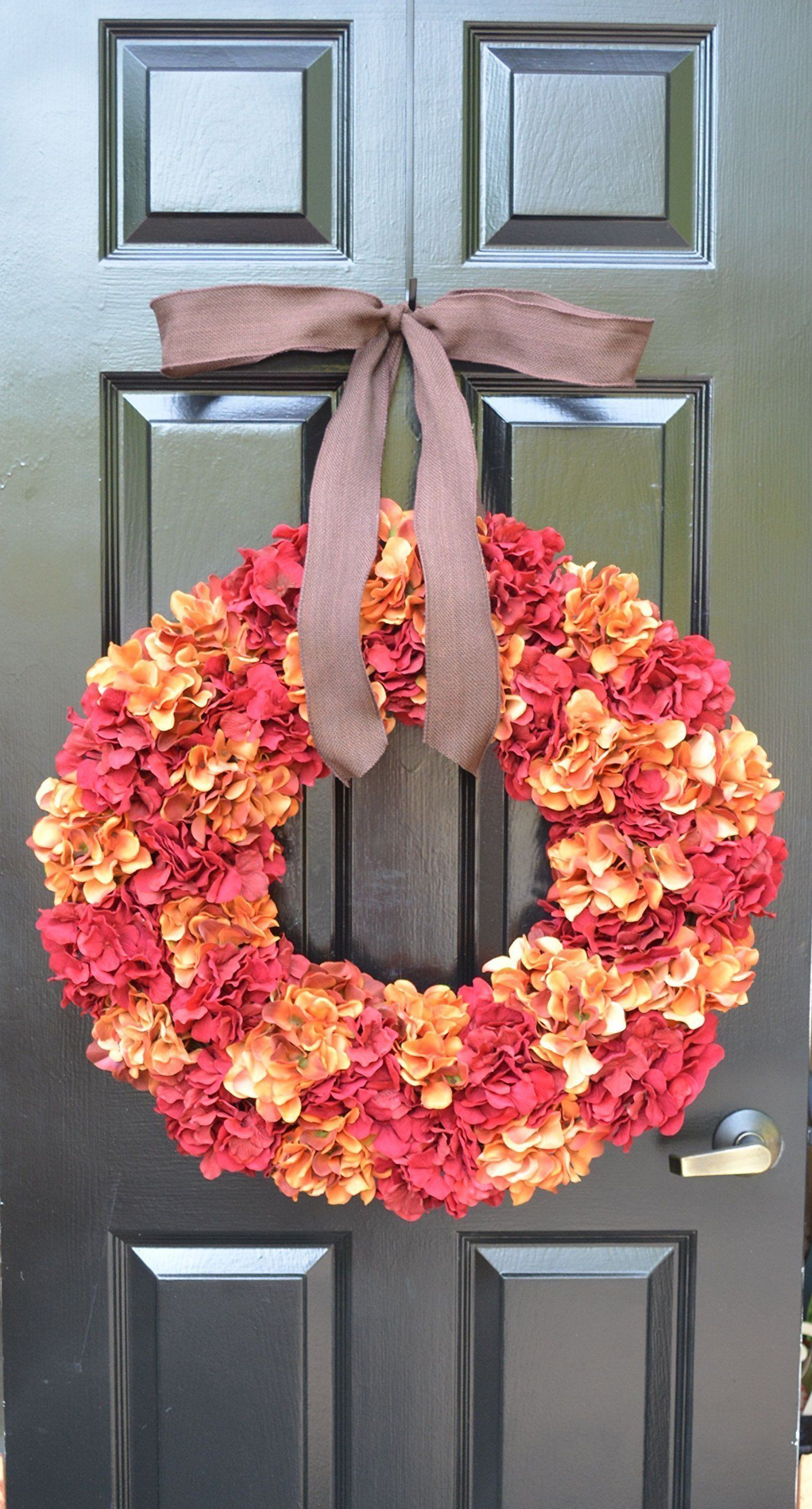 Elegant Holidays Handmade Silk Hydrangea Wreath with Bow (Choice of 2 Colors: Orange, Red or Green), Great for All Seasons and Holidays- Autumn, Summer, Spring, Winter. Home Wall Accent Décor. All wreaths are made to order by hand. We have been featured in Better Homes and Gardens Magazine, TV's Extreme Makeover: Home Edition, Southern Living Magazine Home Builders, Nails Magazine, and many other blogs and websites. Discover quality, stylish, gorgeous hand-made accent wreaths. Great for...