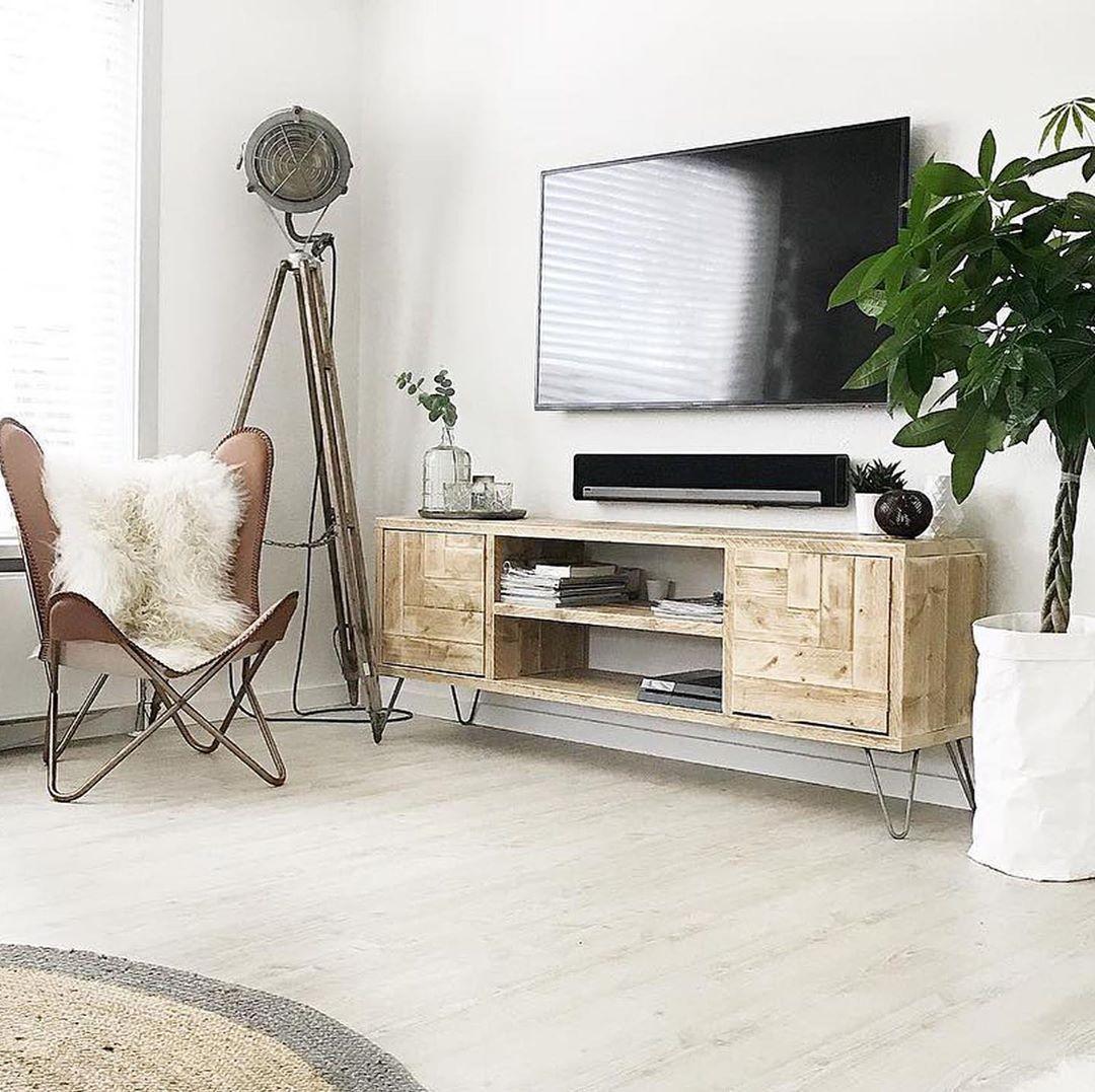 Steigerhout Tv Meubel White Wash.Tv Meubel Hogan Steigerhout Hairpin Metaal In 2020 Boho Living