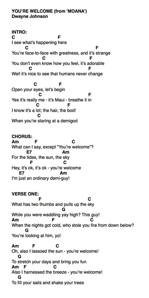 You Re Welcome Ukulele Chords : welcome, ukulele, chords, Moana, You're, Welcome, Ukulele, Songs,, Chords, Songs, Disney