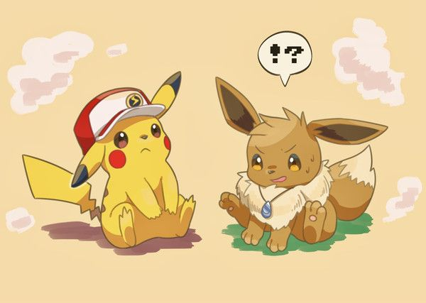 Red and Green/Blue from Pokemon Red and Blue/Green Yellow RGBY become Pikachu and Eevee by とり あえず on Pixiv