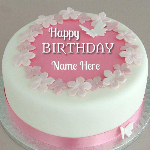Awesome Fondant Flower Birthday Cake With Your NameDesigner Cake