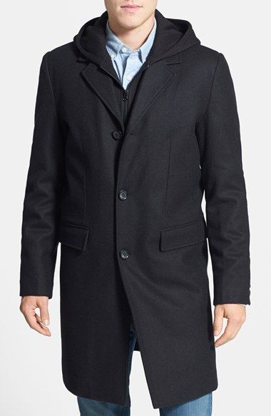 44fedb499185 Black Rivet Wool Blend Top Coat with Removable Hood Insert available at   Nordstrom