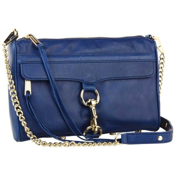 Rebecca Minkoff Mac Clutch In Navy With Light Gold Hardware ($295) ❤ liked on Polyvore