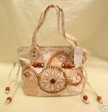 Beige Fabric Seashell Beaded Retro Purse Handbag