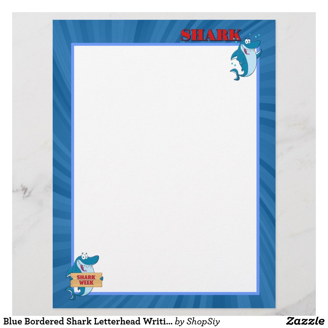 Blue Bordered Shark Letterhead Writing Paper
