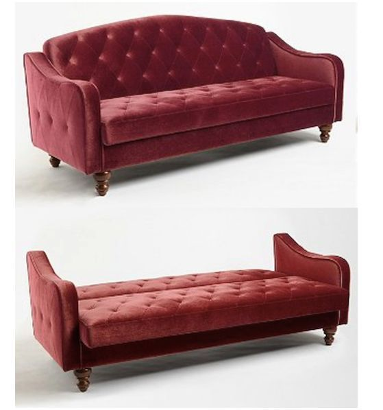 Red Velvet Sofa Bed Burgundy Tufted Futon Couch Merlot Wine Sleeper Convertible Traditional