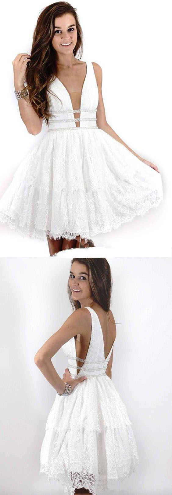 Deep neck short prom dress white lace homecoming dress pg lace
