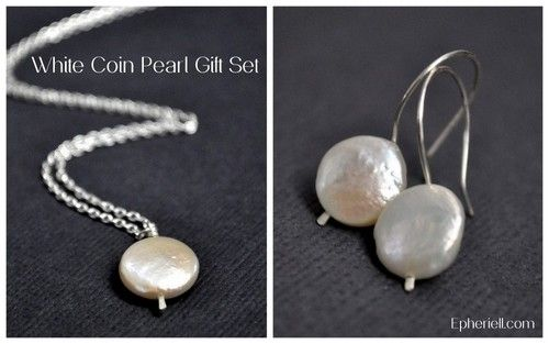 White Coin Pearl Gift Set - Necklace + Earrings - #ephieriellMD