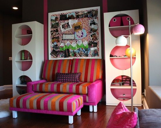 Outstanding Teenage Girl Room Furniture: Outstanding Teenage Girl Room Furniture Cheerful Sofabed Color Also Brown Laminate Floor Modern And Unique Bookshelf Design Also Unique Floor Lamp Design Also Pink Cushions ~ whitenoised.com Bedroom Design Inspiration