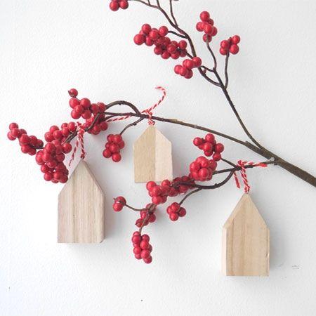Adorno Navidad, casitas madera, 3 uds