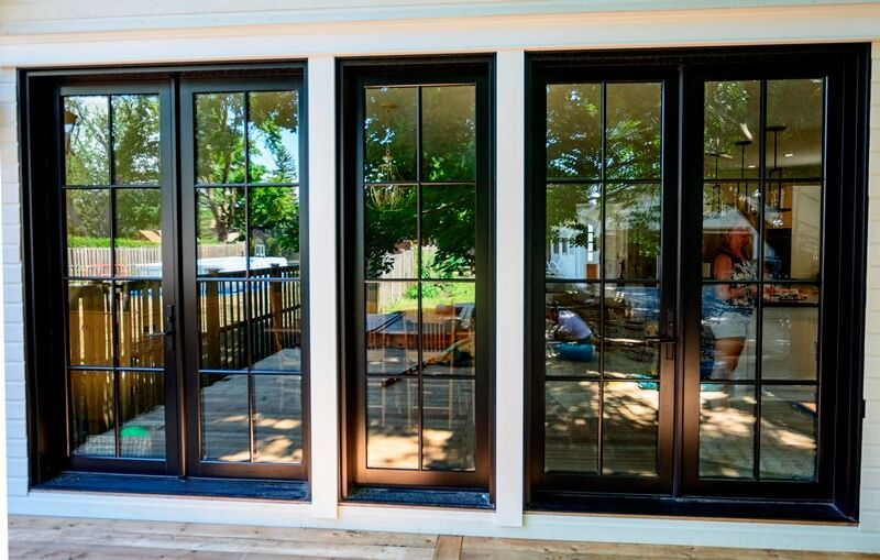 Black Rail And Stile Fiberglass French Doors With Fixed Panel