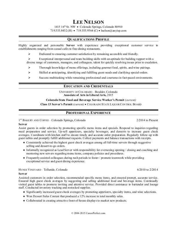 Check Out This Sample Resume For A Restaurant Server To See How You