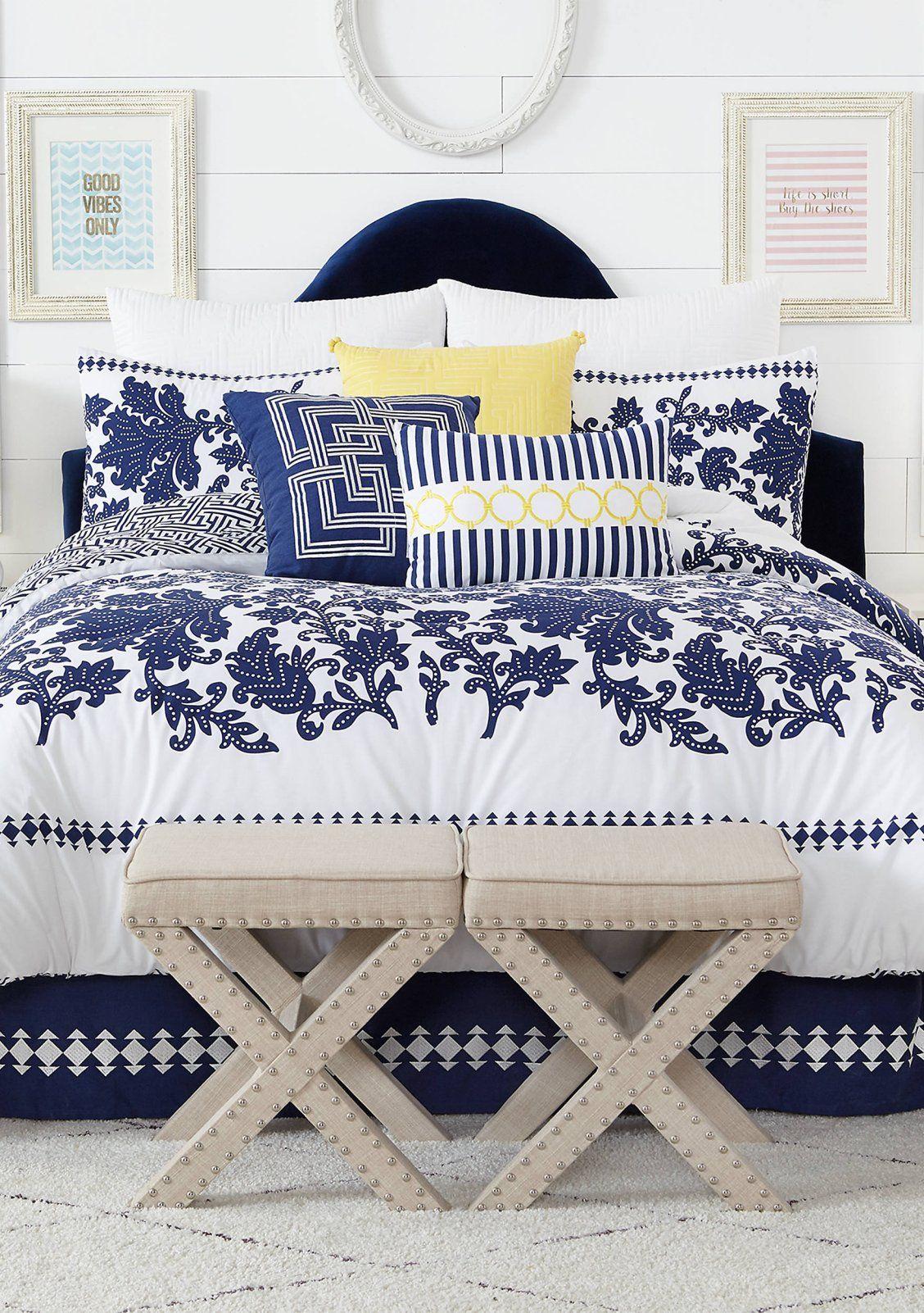 Crown Ivy Avery Comforter Set Comforter Sets Bedding Master Bedroom King Comforter Sets White comforter with navy trim