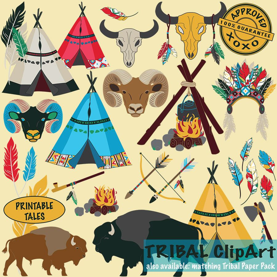 tribal clipart kids teepee arrow bow buffalo ram skull feathers campfire axe indian headdress peace pipe navaho aztec ethnic royalty free by  [ 900 x 900 Pixel ]