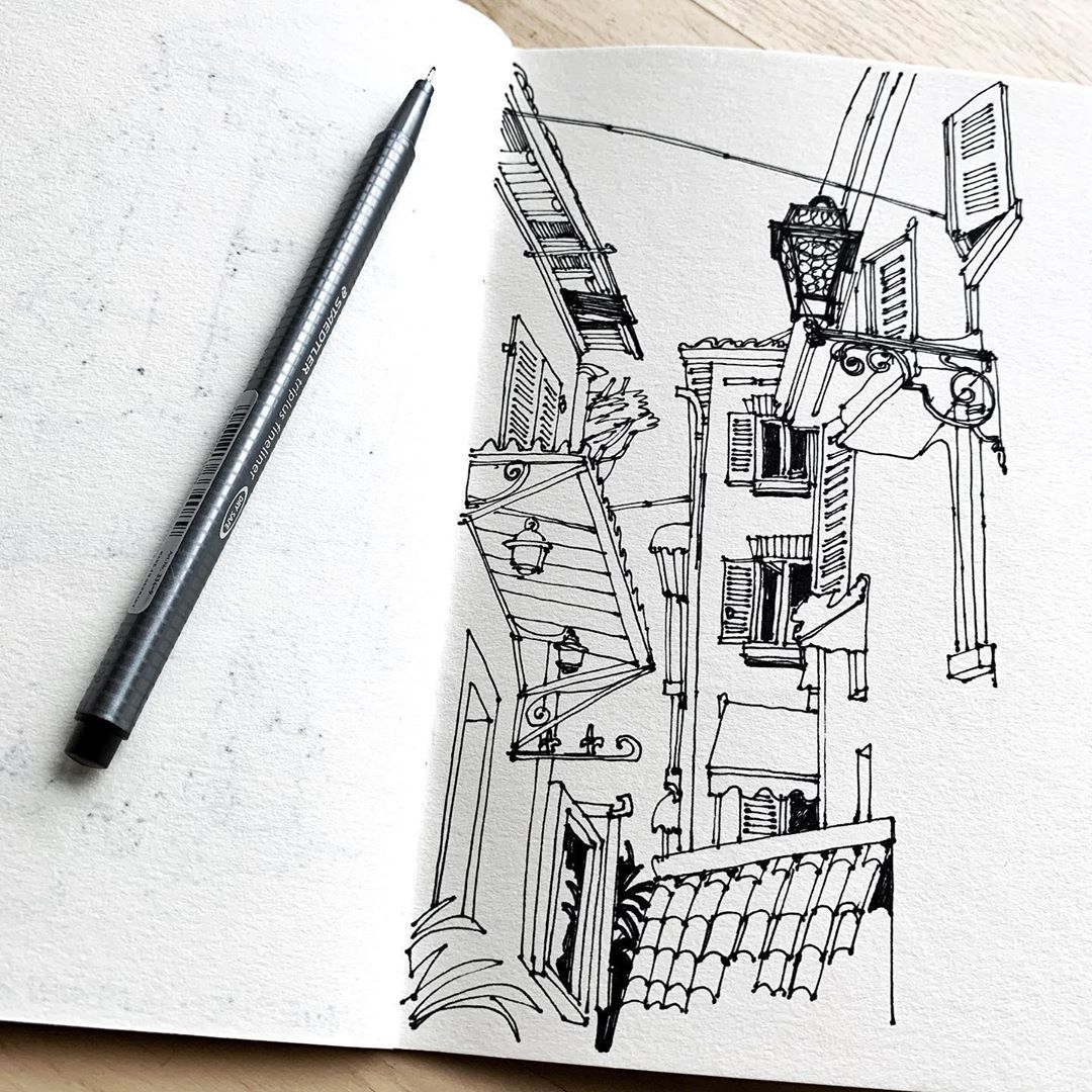 "@lillliart on Instagram: ""Somewhere else at the intersection of reality and fantasy... #pensketch #sketch365 #drawingdaily #sketchlikeanarchitect #archisketch…"""