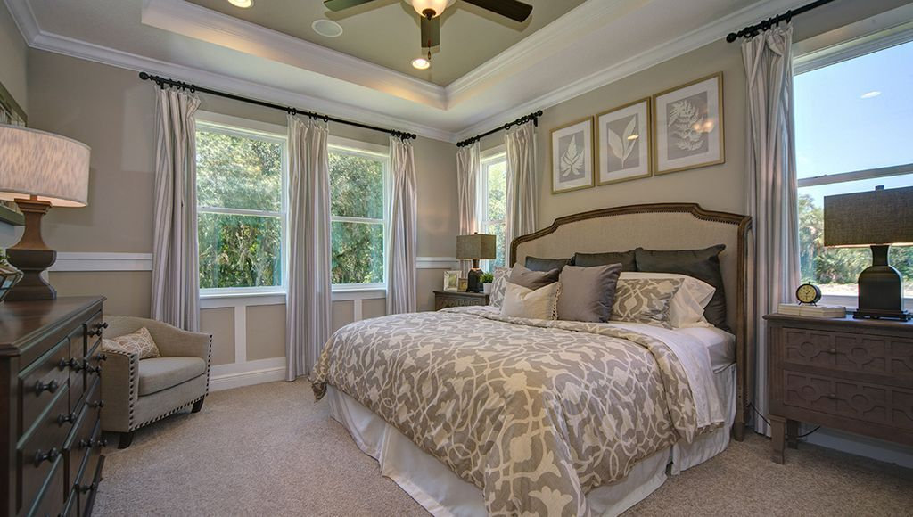 Transitional Master Bedroom with Shaw Carpet Beige