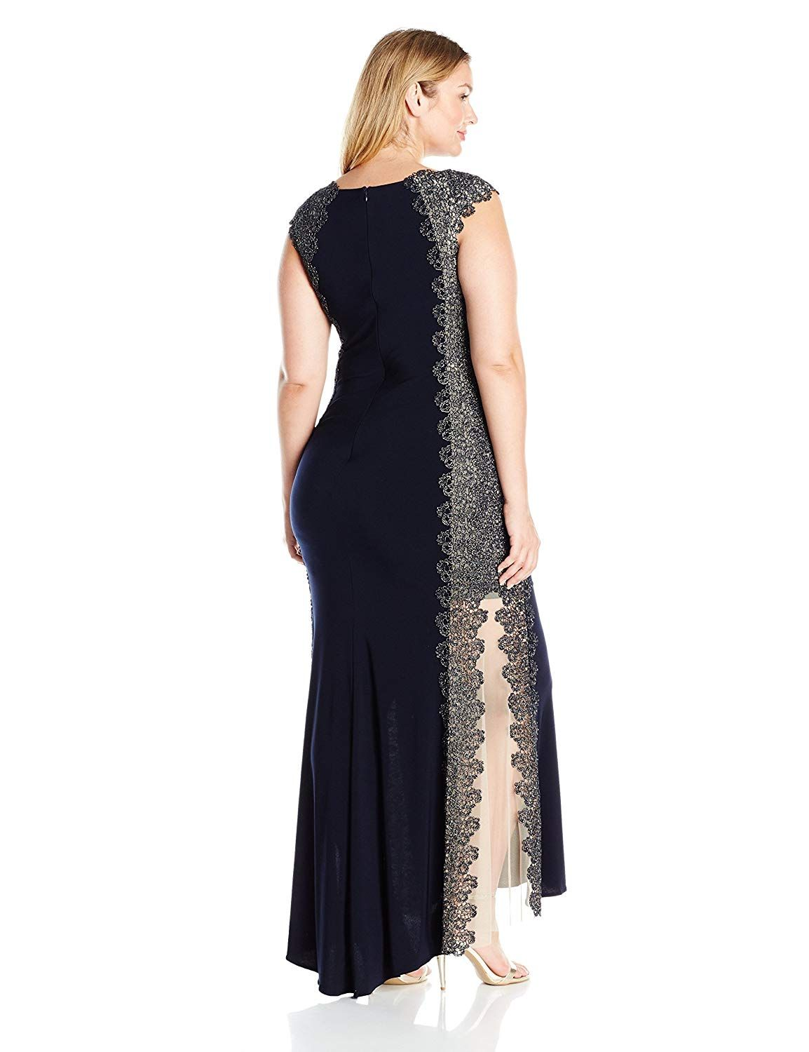 Xscape womenus plussize long dress with lace sides read more at