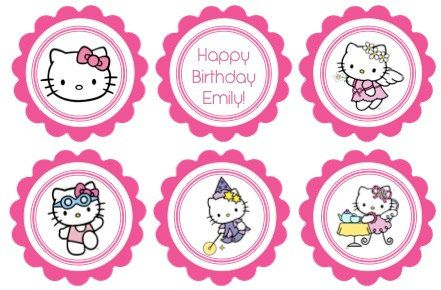 Printable birthday cupcake toppers hello kitty theme sanrio hello printable birthday cupcake toppers hello kitty theme maxwellsz
