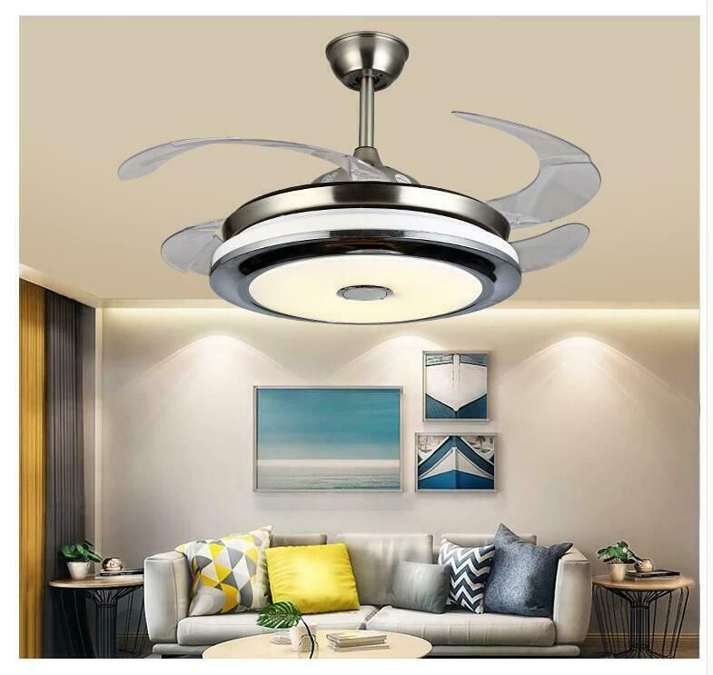 42 Remote Invisible Ceiling Fan Light Led Chandeliers W Bluetooth