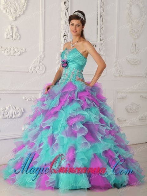 7e3ccfd97c8 Multi-color Ball Gown Strapless Floor-length Organza Appliques and Hand  Flower Quinceanera Dress - Magic Quinceanera