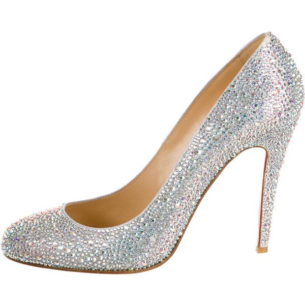 efc3a7ec62 Pre-owned Christian Louboutin Fifi Strass Pumps (£915) ❤ liked on Polyvore  featuring shoes, pumps, heels, silver, light blue shoes, silver pumps, ...