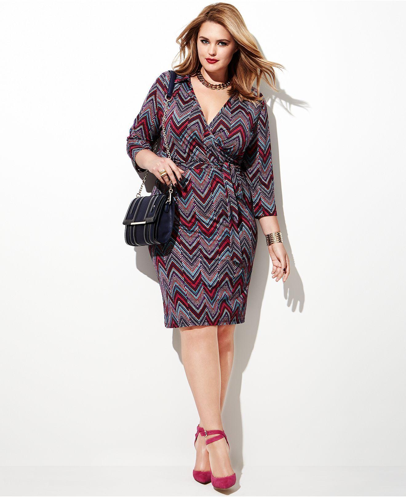Plus Size Fall Fashion Trend Report Printed Dresses Chevron Wrap