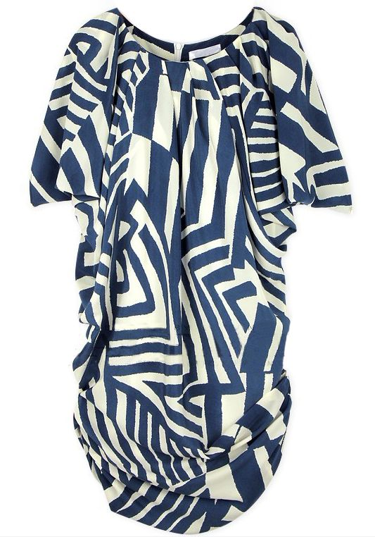 663250e1ee5 Blue and White Short Sleeve Asymmetrical Striped Dress / Tunic Top ...