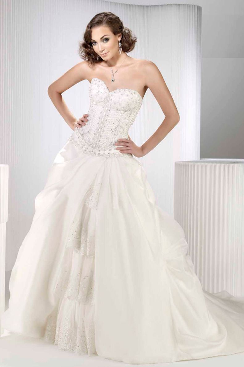 Ball Gown Chapel Train Taffeta Strapless With Lace Up Back Wedding