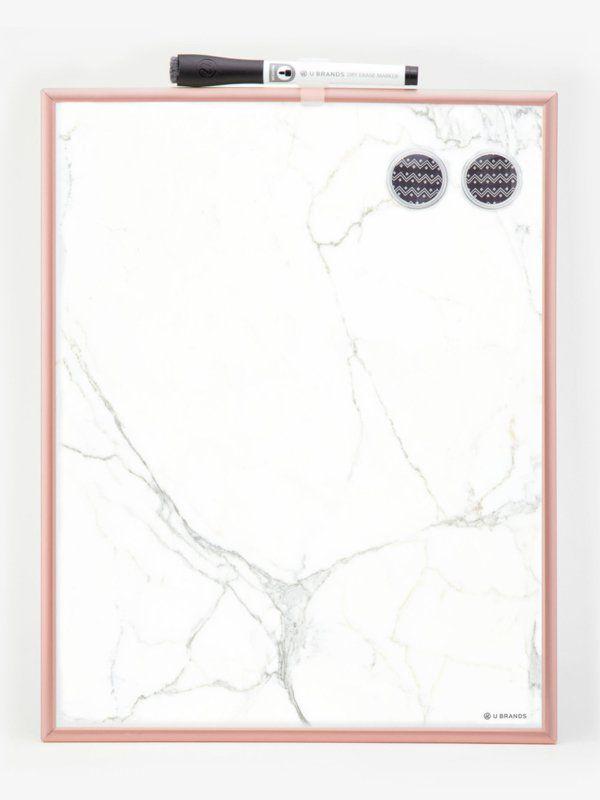 marmer whiteboard met rosegold lijst Dry
