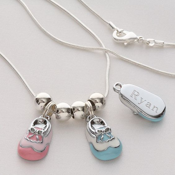 Engraved baby shoe charm necklace or charm bracelets babies and adorable personalized baby shoe charm is a fabulous mothers day gift for mom or grandma negle Image collections