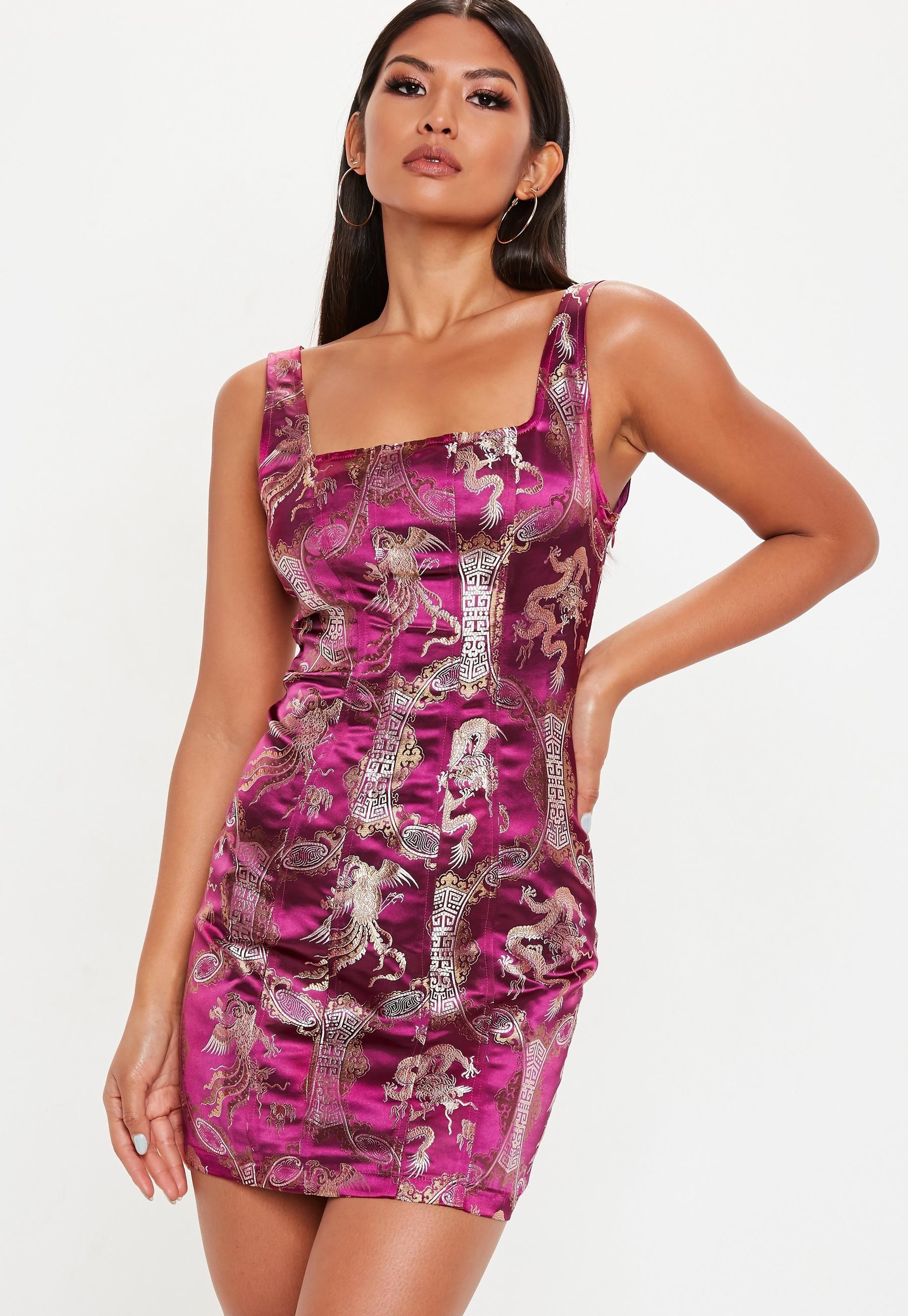 0e32d12a8fa Red Dragon Print Jacquard Bodycon Mini Dress in 2019