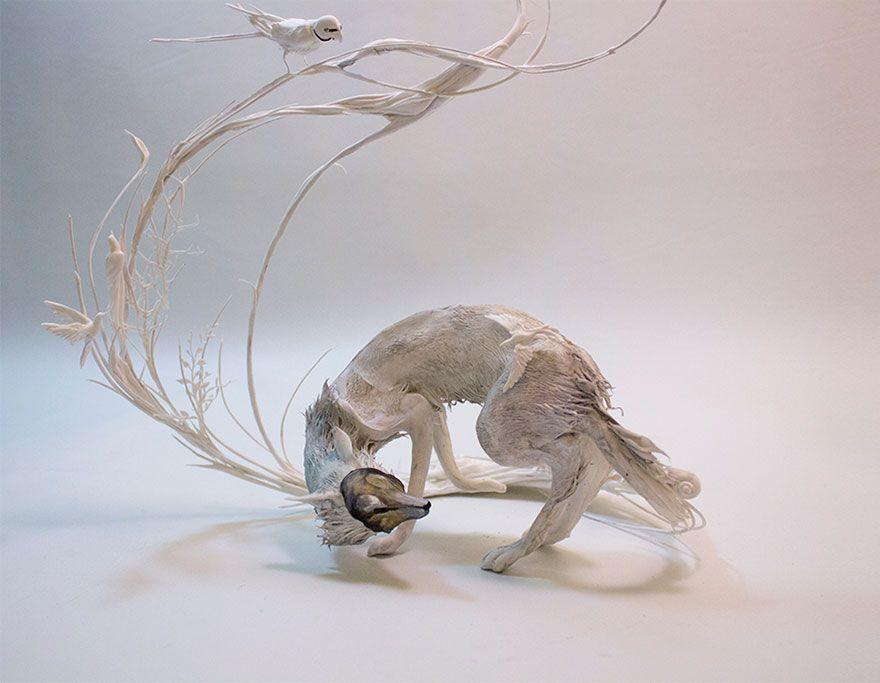 Sculptor Merges Animals And Plants In Otherworldly Sculptures - Surreal animal plant sculptures ellen jewett