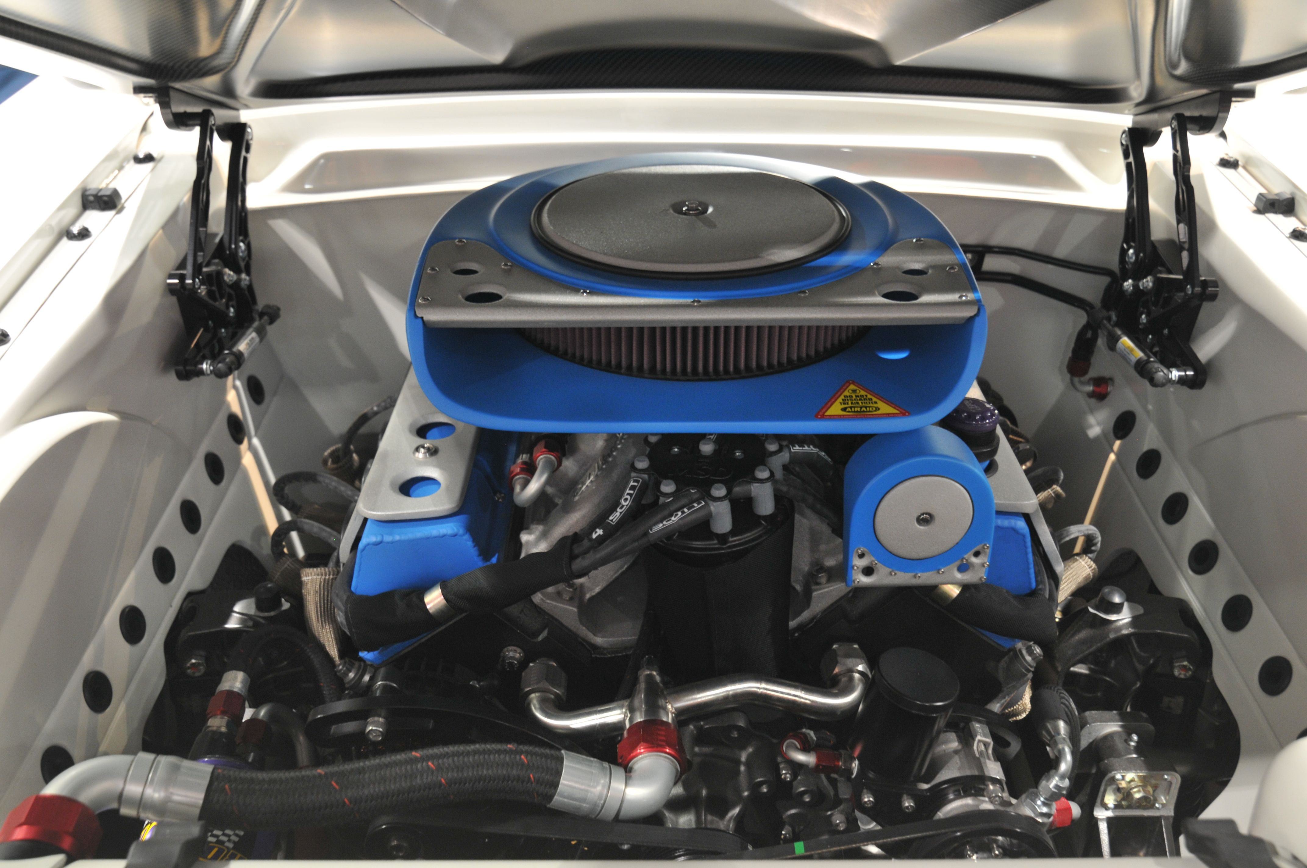 1965 Blizzard Mustang equipped with Ringbrothers Billet Hood Hinges ...