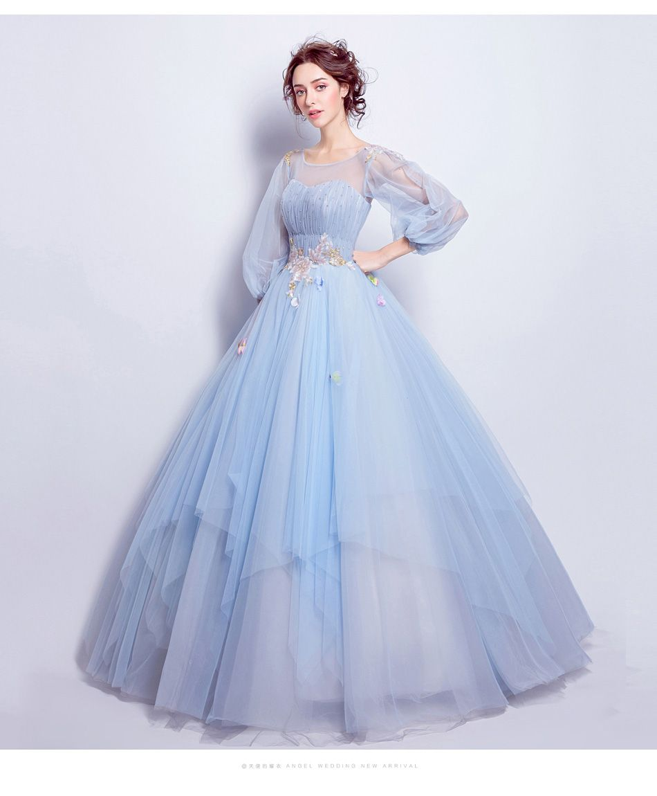 SSYFashion Sweet Light Blue Flower Fairy Princess Prom Dress Transparent  Long Sleeves Sequined Party Ball Gown Robe De Soiree-in Prom Dresses from  Weddings ... 7707f998cbb9