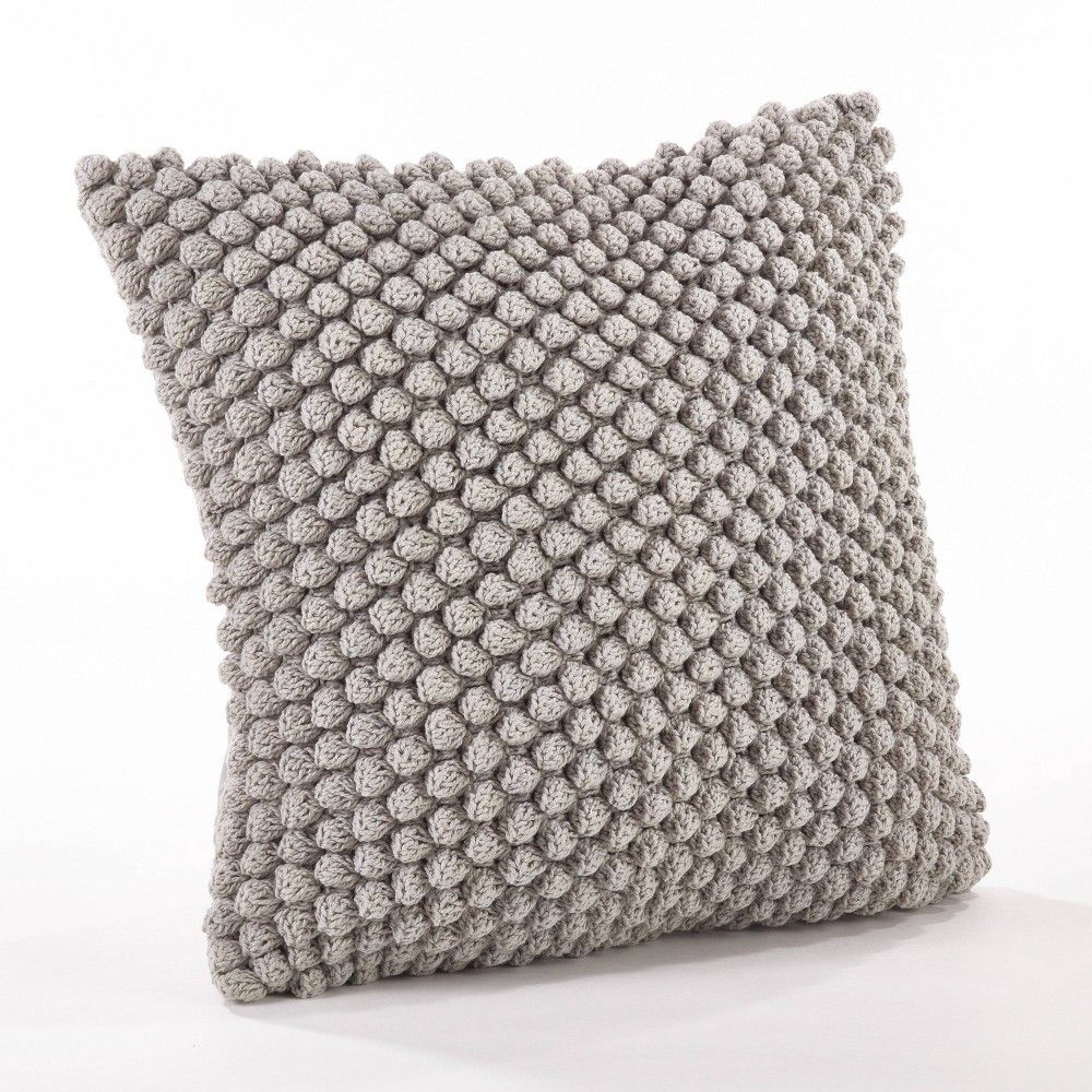 Down Filled Crochet Pompom Pillow Gray - Saro Lifestyle
