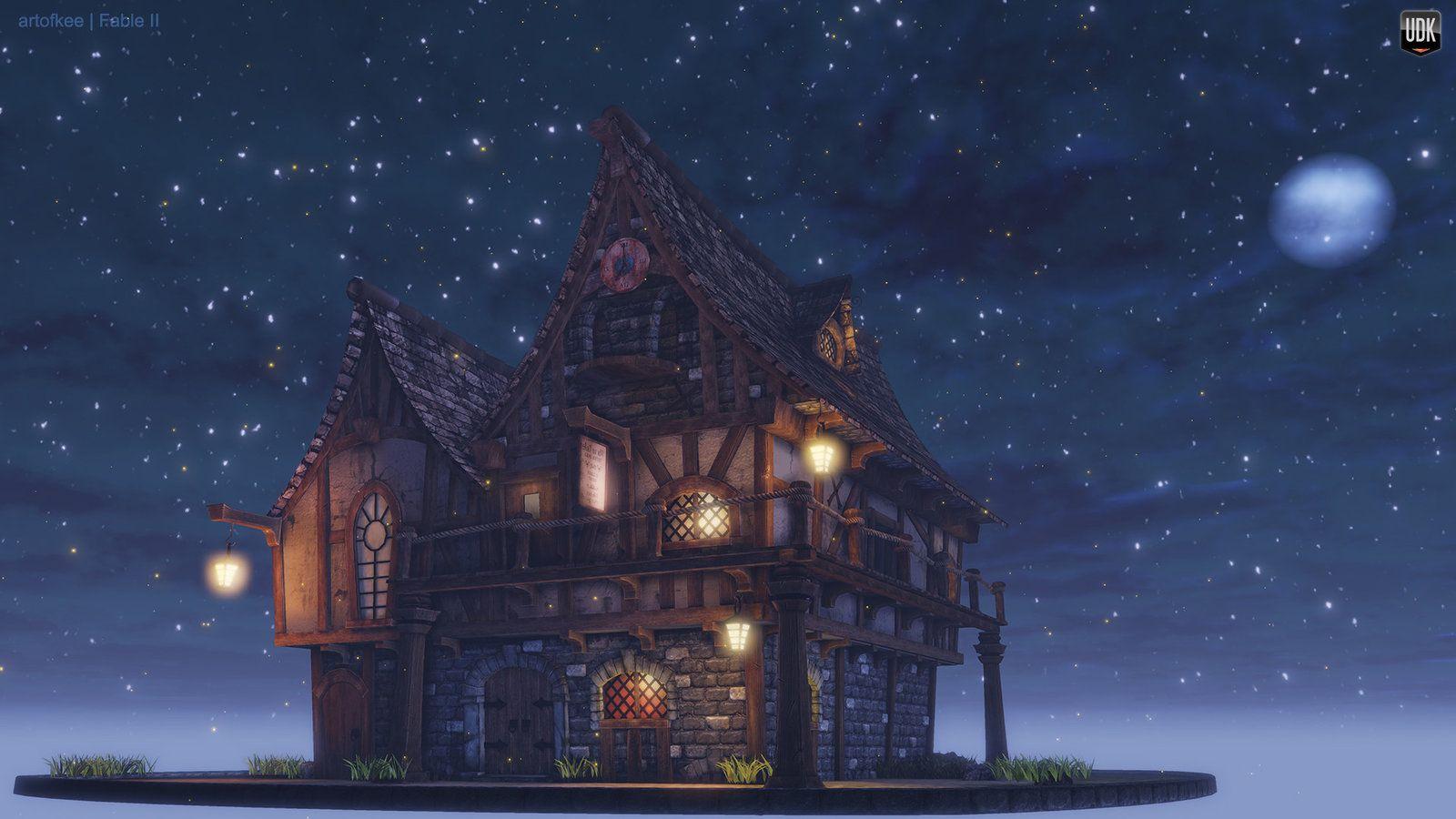 Fable II Tavern House Fanart, Kee Mahusay on ArtStation at https://www.artstation.com/artwork/fable-ii-tavern-house-fanart