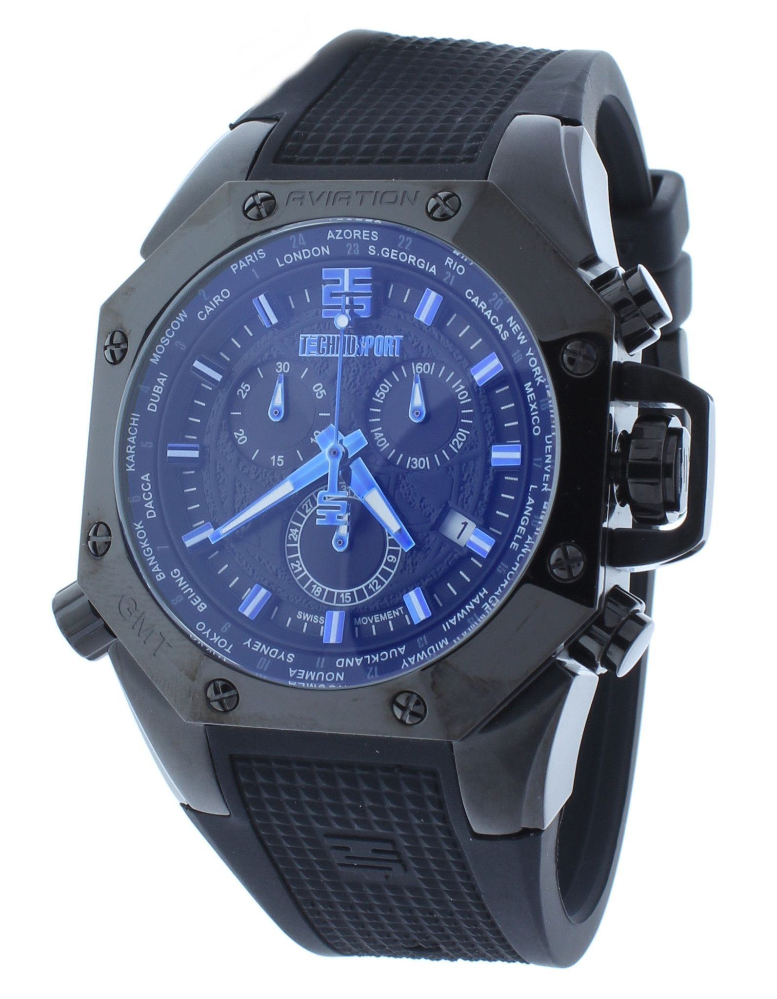 4a9cfa84fb04c Technosport TS-100-4AV Men s Black World Timer GMT Swiss Chrono Watch Blue  Accents