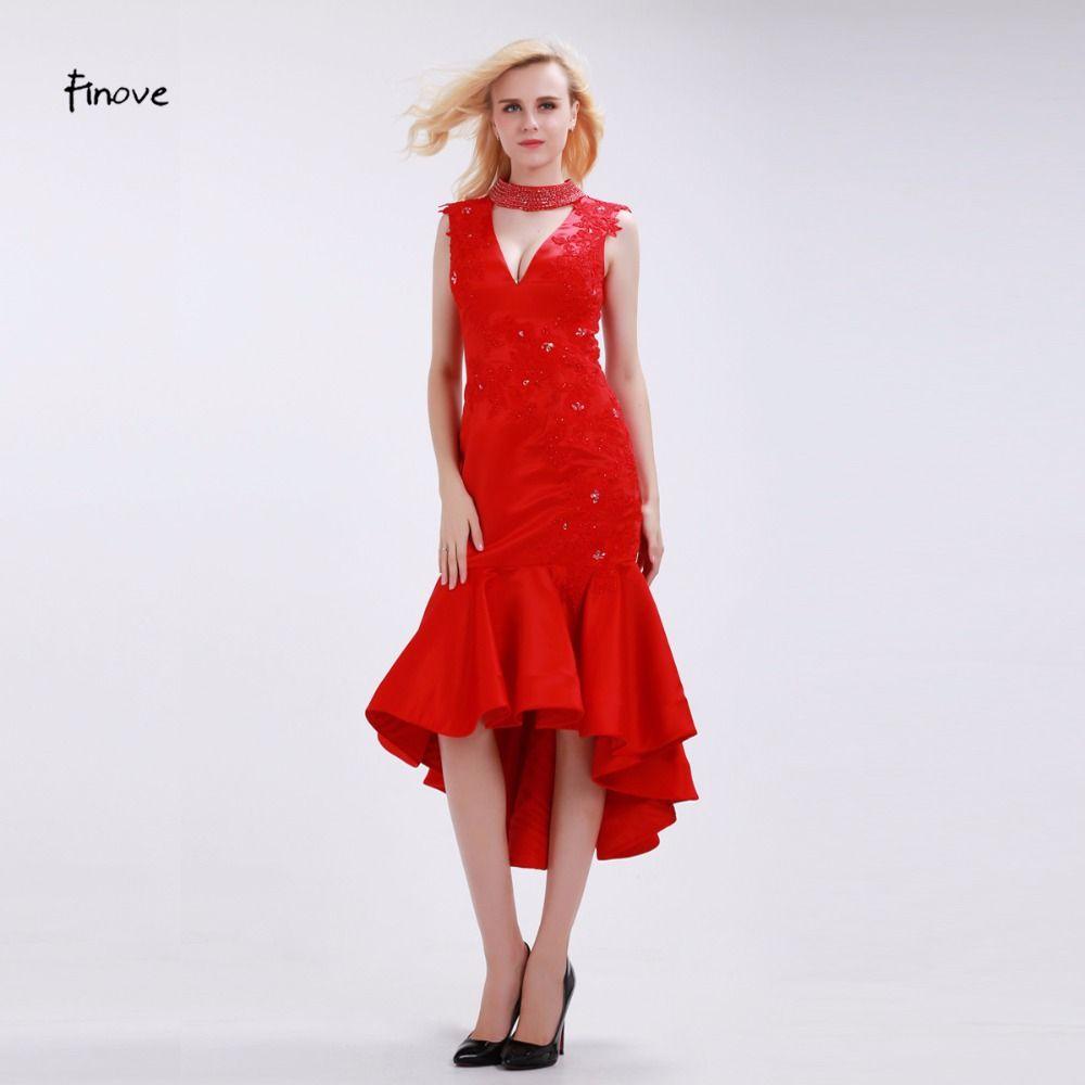 Finove red bridesmaid dresses elegant mermaid deep vneck halter