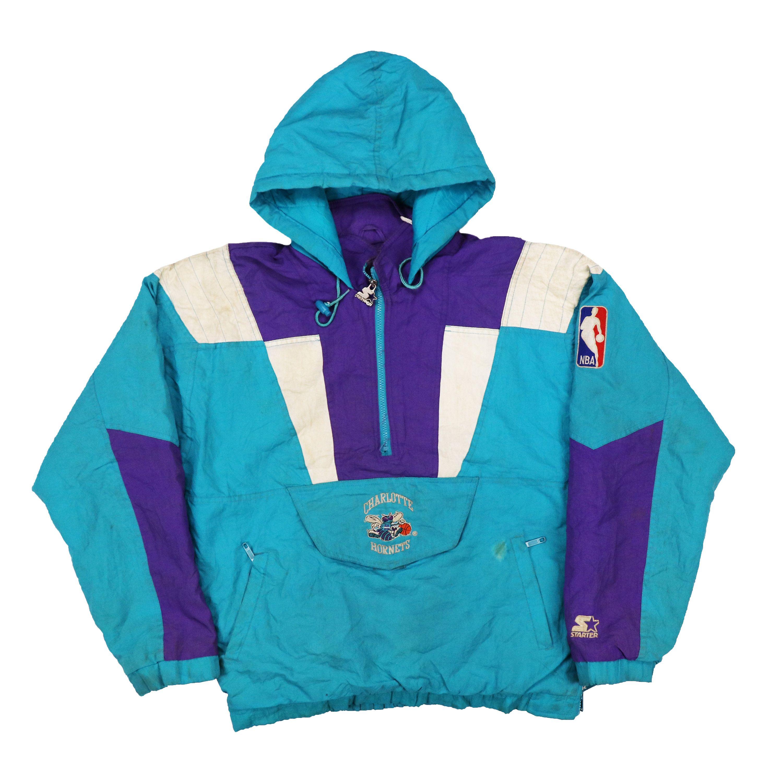 Vintage 90s charlotte hornets Pullover Jacket  ccfa7cd30